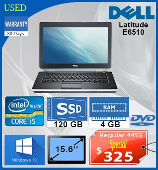 Laptop-Dell-Latitude-E6510-15_6-i5-120SSD-4GB-W10-30Jours-325cad-AN