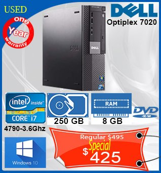 Desktop-Dell-Optiplex-7020-i7-250GB-8GB-DVDRW-W10-1y-425cad-ANGLAIS