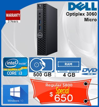 Desktop-Dell-Optiplex-3060-Micro-i3-3_1GHz-500GB-4GB-DVDRW-W10-3Y-650cad-ANGLAIS