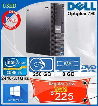 Desktop-Dell-Optiplex-790-i5-250GB-8GB-DVDRW-W10-1y-225cad-ANGLAIS