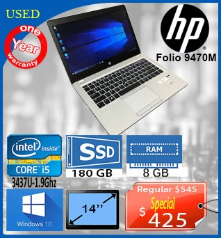 Laptop-HP-Folio9470M-14in-i5_3437U-_9GHz-180GB_SSD-8GB-W10-425cad-ANGLAIS