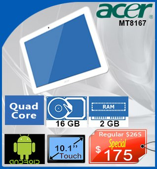 Tablet-Acer-MT8167-10in-QuadCore-16GB-2GB-Android-175cad-ANGLAIS