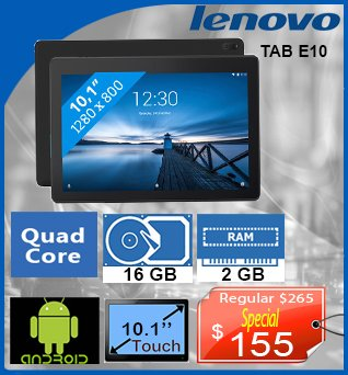 Tablet-Lenovo-TABE10-10in-QuadCore-16GB-2GB-Android-155cad-ANGLAIS