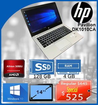 Laptop-HP-Pavilion-Athlon-3050U-14in-128SSD-4GB-W10-525cad-ANGLAIS